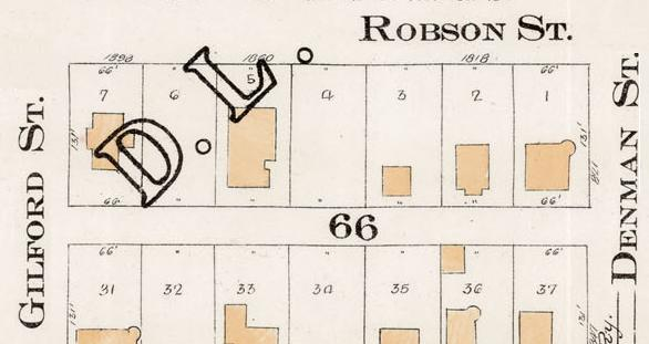 1800 Block Robson Street - south side - Denman Street to Gilford Street - detail from Goad's Atlas of the City of Vancouver - 1912 - Vol 1 Plate 7