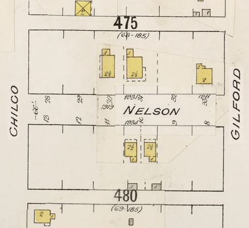 "1900 Block Nelson Street – detail from Insurance plan – City of Vancouver, July 1897, revised June 1903 – Sheet 43 – Coal Harbour to Comox Street and Bidwell Street to Stanley Park. [Note: the plan above shows the property in lot 30 as ""1919"" Nelson Street; probably it should say ""1991."" Normally, 1919 Nelson Street would be between 1931 Nelson and 1911 Nelson, in or near lot 32.]"