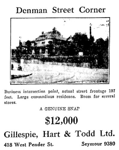 821 Denman Street - For Sale - Vancouver Sun - August 11 1928 page 27