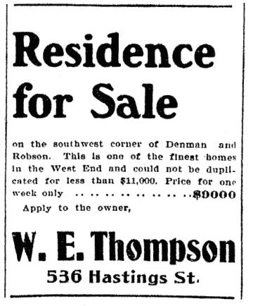 W E Thompson - Residence for Sale - Vancouver World - July 27 1906 - page 17