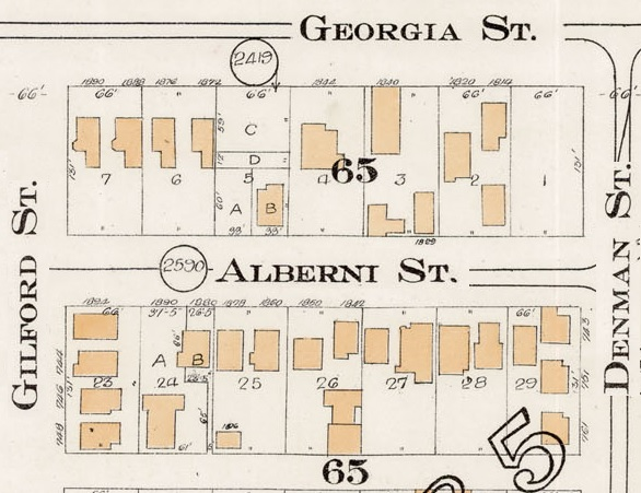 1800 Block Alberni Street - Detail from Goad's Atlas of the city of Vancouver – 1912 – Vol 1 – Plate 7 – Coal Harbour to Barclay Street and Cardero Street to Stanley Park