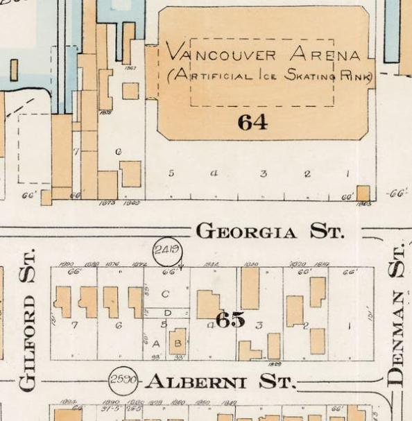 1800 Block Georgia Street - detail from Goad's Atlas of the city of Vancouver - 1912 - Vol 1 - Plate 7 - Coal Harbour to Barclay Street and Cardero Street to Stanley Park