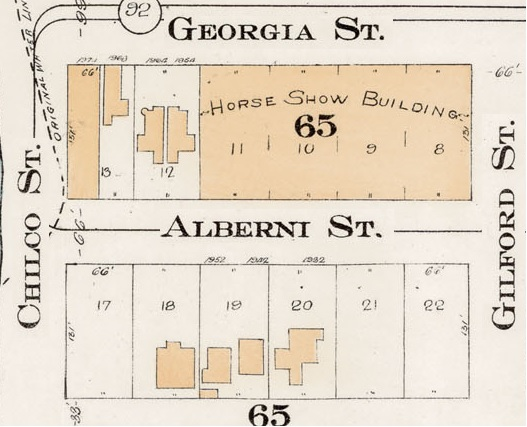 1900 Block Alberni Street - Detail from Goad's Atlas of the city of Vancouver - 1912 - Vol 1 - Plate 7 - Coal Harbour to Barclay Street and Cardero Street to Stanley Park