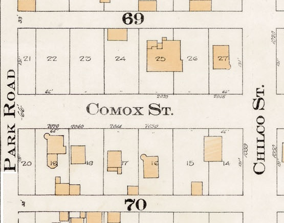 2000 Block Comox Street - Detail from Goad's Atlas of the city of Vancouver – 1912 – Vol 1 – Plate 8 – Barclay Street to English Bay and Cardero Street to Stanley Park