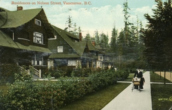 2000 Block Nelson Street - south side - about 1910 - postcard Residences on Nelson Street - Vancouver BC