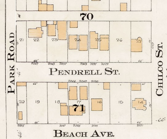 2000 Block Pendrell Street - Detail from Goad's Atlas of the city of Vancouver - 1912 - Vol 1 - Plate 8 - Barclay Street to English Bay and Cardero Street to Stanley Park