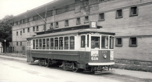 Horse Show Building - Alberni Street side - BCER Streetcar at Stanley Park Armouries, 1948 - 1900 Block Alberni Street - Ernie L Plant - photographer; http://www.flickr.com/photos/45379817@N08/7087706939/in/photostream/