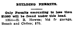 E B Howes - Building Permit - Daily Building Record - January 31 1912 - page 1