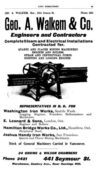 George A. Walkem & Co. advertisement - Henderson's City of Vancouver Directory - 1907 - page 81