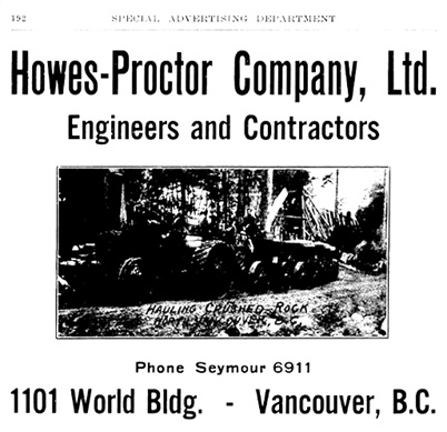 Howes - Proctor Company - Advertisement - Henderson's Greater Vancouver City Directory - 1913 - Part 1 - page 192