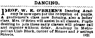 O'Brien's Dancing Academy, Metropolitan Club Block, Vancouver Daily World, September 13 1894, page 4.