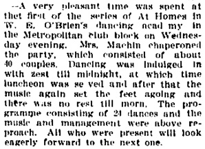O'Brien's Dancing Academy - Metropolitan Club block, Vancouver Daily World, September 13, 1894, page 8.