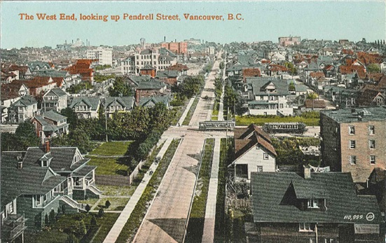 West End - Postcard - Looking east up Pendrell Street