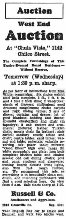 1142 Chilco Street - Auction - Vancouver Sun - November 18 1930 - page 21