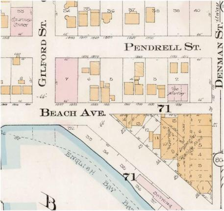1800 Block Beach Avenue - Detail from Goad's Atlas of the city of Vancouver - 1912 - Vol 1 - Plate 8 - Barclay Street to English Bay and Cardero Street to Stanley Park