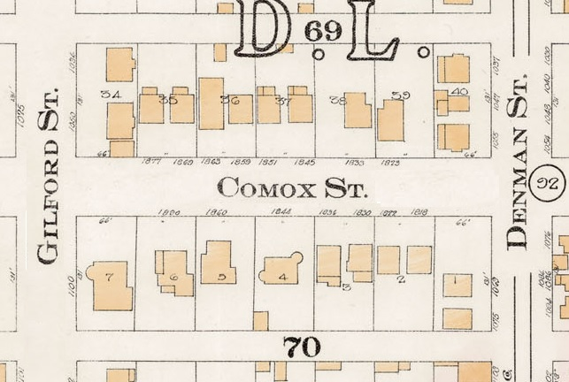 1800 Block Comox Street - Detail from Goad's Atlas of the city of Vancouver – 1912 – Vol 1 – Plate 8 – Barclay Street to English Bay and Cardero Street to Stanley Park