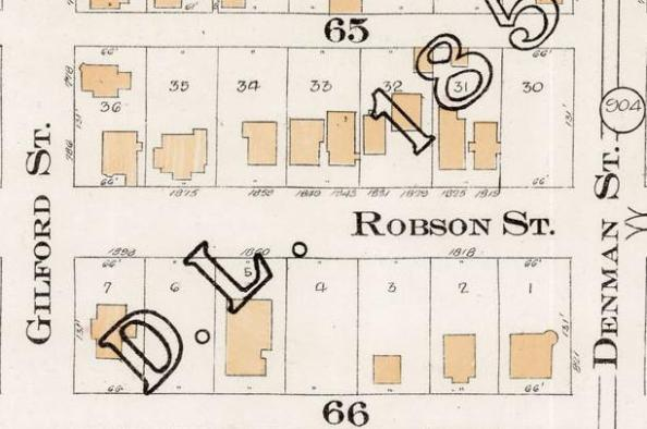 1800 Block Robson Street - Detail from Goad's Atlas of the city of Vancouver - 1912 - Vol 1 - Plate 7 - Coal Harbour to Barclay Street and Cardero Street to Stanley Park