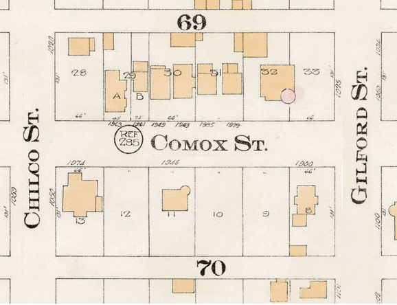 1900 Block Comox Street - Detail from Goad's Atlas of the city of Vancouver – 1912 – Vol 1 – Plate 8 – Barclay Street to English Bay and Cardero Street to Stanley Park