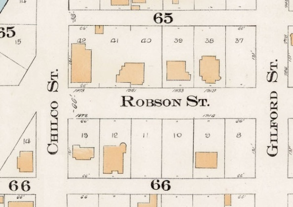 1900 Block Robson Street - Detail from Goad's Atlas of the city of Vancouver - 1912 - Vol 1 - Plate 7 - Coal Harbour to Barclay Street and Cardero Street to Stanley Park