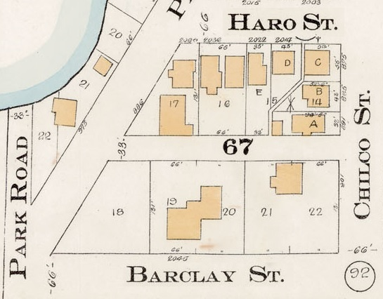 2000 Block Barclay Street - North side - 2000 Block Haro Street - South Side - Detail from Goad's Atlas of the city of Vancouver – 1912 – Vol 1 – Plate 7 – Coal Harbour to Barclay Street and Cardero Street to Stanley Park