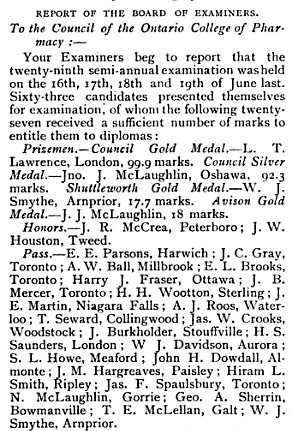 Canadian Pharmaceutical Journal, Canadian Pharmaceutical Association, 1886, Volume 19, page 22 [S.L. Howe, Meaford, is in the list of students who passed.]