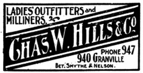 Charles William Hills directory advertising, Henderson's City of Vancouver Directory, 1907, page 843.