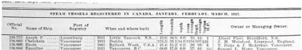 Canadian Shipping and Marine Engineering, volume 2, number 5, May 1912, page 135, Steam Vessels Registered in Canada, January, February, March 1912, page 135, https://archive.org/stream/canshipmarineen1912macl#page/135/mode/1up