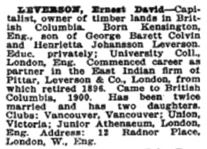 Ernest David Leverson, Who's Who in Western Canada, C.W. Parker, editor, Canadian Press Association, Vancouver, British Columbia, 1911, page 239, http://www.ourroots.ca/page.aspx?id=643233&qryID=ab88713f-4696-4c6a-b6a2-89ea1a06f0d5&pageSizeToggle=medium