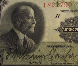 Frederick Williams Taylor - detail from 1923 Bank of Montreal Ten Dollar banknote; http://www.ebay.ca/itm/1923-BANK-MONTREAL-CANADA-10-TEN-DOLLARS-505-56-04-WILLIAMS-TAYLOR-MEREDITH-/110950030550
