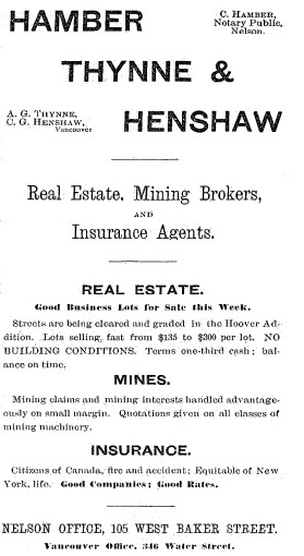 Hamber Thynne and Henshaw - Nelson Miner - July 25 1891 - page 11; http://historicalnewspapers.library.ubc.ca/view/collection/miner/date/1891-07-25#11