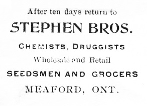 Stephen Brothers, Chemists, Druggists, Meaford, Ontario, 1904, detail of envelope; http://www.ebay.ca/itm/p76-MEAFORD-Ontario-1904-Stephen-Bros-Chemists-Druggists-ADVERTISING-Cover-/381324223984?pt=LH_DefaultDomain_0&hash=item58c8b1e5f0
