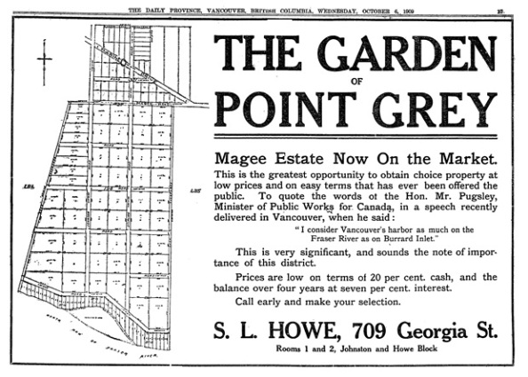 """The Garden of Point Grey,"" S.L. Howe, Vancouver Province, October 6, 1909, page 17."