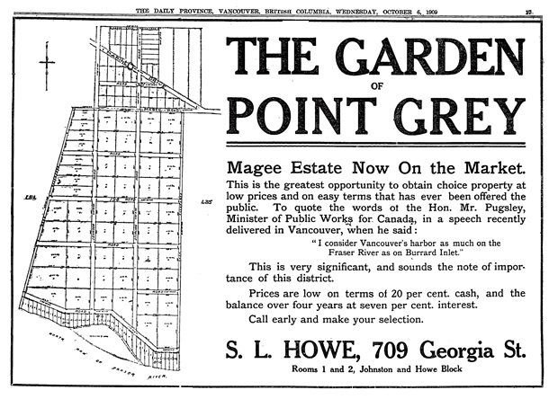 """""""The Garden of Point Grey,"""" S.L. Howe, Vancouver Province, October 6, 1909, page 17."""