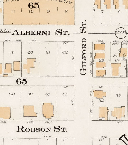 700 Block Gilford Street - Alberni Street to Robson Street - Detail from Goad's Atlas of the city of Vancouver - 1912 - Vol 1 - Plate 7 - Coal Harbour to Barclay Street and Cardero Street to Stanley Park