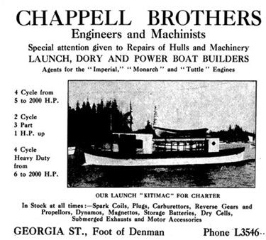 Chappell Brothers display advertisement - Henderson's City of Vancouver and North Vancouver Directory -1910 - page 142