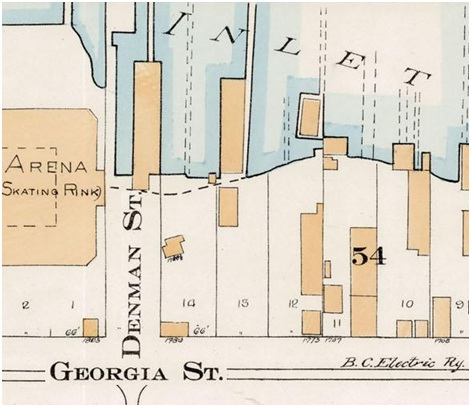 Denman Street and Georgia Street - Detail from Goad's Atlas of the City of Vancouver - 1912 - Vol 1 - Plate 7 - Coal Harbour to Barclay Street and Cardero Street to Stanley Park
