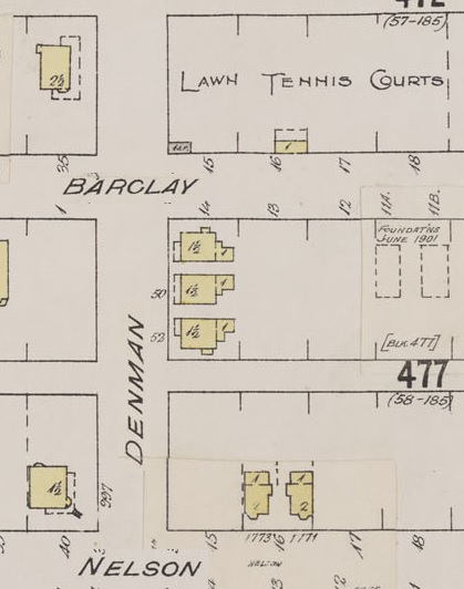 Denman Street - between Barclay Street and Nelson Street - detail from Insurance plan - City of Vancouver - July 1897 - revised June 1901 - Sheet 43 - Coal Harbour to Comox Street and Bidwell Street to Stanley Park