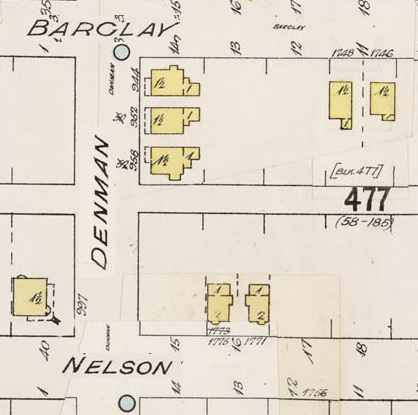 Denman Street - between Barclay Street and Nelson Street - detail from Insurance plan - City of Vancouver - July 1897 - revised June 1903 - Sheet 43 - Coal Harbour to Comox Street and Bidwell Street to Stanley Park