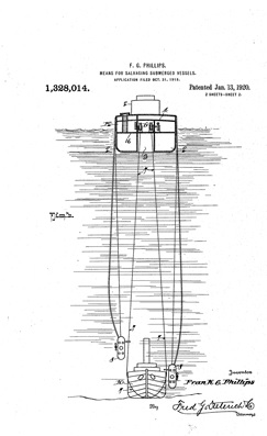 Frank Grimmer Phillips, United States Patent US 1328014 A Means for salvaging submerged vessels; figure 3; https://www.google.com/patents/US1328014.