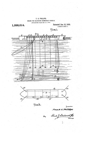 Frank Grimmer Phillips, United States Patent US 1328014 A Means for salvaging submerged vessels; figures 1 and 2; https://www.google.com/patents/US1328014.