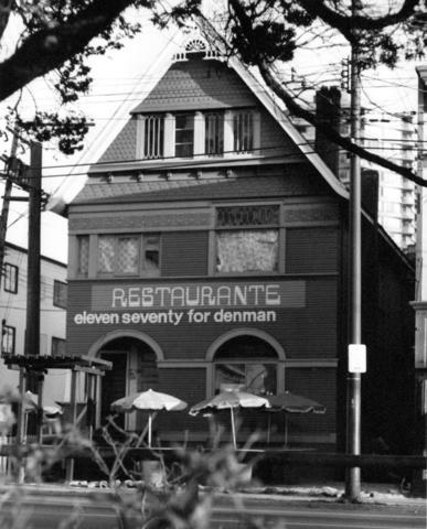 1174 Denman Street - June 1974 - Vancouver City Archives - Restaurante eleven seventy for Denman - CVA 185-1; http://searcharchives.vancouver.ca/west-facade-of-tum-of-century-renovated-house-on-denman-street-vancouver-restaurante-eleven-seventy-for-denman.