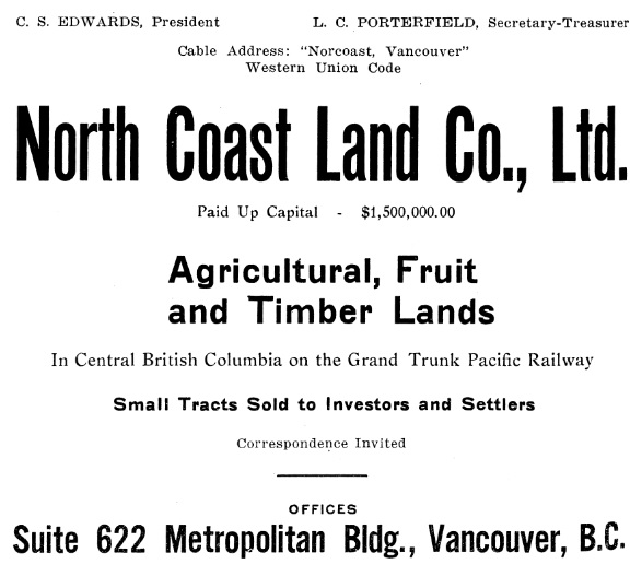 North Coast Land Company - Advertisement - Henderson's Greater Vancouver City Directory - 1913- page 84