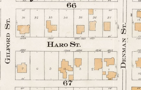 1800 Block Haro Street - Detail from Goad's Atlas of the city of Vancouver – 1912 – Vol 1 – Plate 7 – Coal Harbour to Barclay Street and Cardero Street to Stanley Park