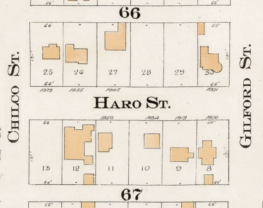 1900 Block Haro Street - Detail from Goad's Atlas of the city of Vancouver – 1912 – Vol 1 – Plate 7 – Coal Harbour to Barclay Street and Cardero Street to Stanley Park