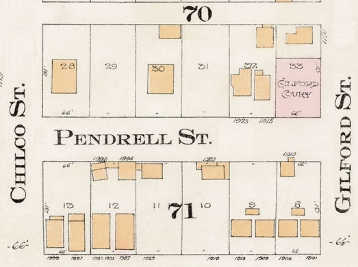1900 Block Pendrell Street - Detail from Goad's Atlas of the city of Vancouver – 1912 – Vol 1 – Plate 8 – Barclay Street to English Bay and Cardero Street to Stanley Park