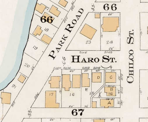 2000 Block Haro Street - Detail from Goad's Atlas of the city of Vancouver – 1912 – Vol 1 – Plate 7 – Coal Harbour to Barclay Street and Cardero Street to Stanley Park