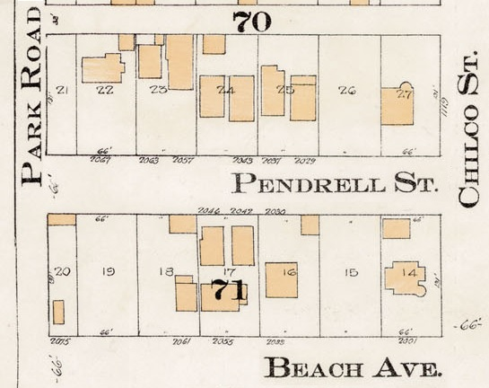 2000 Block Pendrell Street - Detail from Goad's Atlas of the city of Vancouver – 1912 – Vol 1 – Plate 8 – Barclay Street to English Bay and Cardero Street to Stanley Park