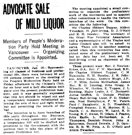 Advocate Sale of Mild Liquor - Victoria Daily Colonist - January 12 1919 - page 3; http://archive.org/stream/dailycolonist61y31uvic#page/n1/mode/1up