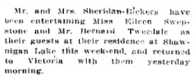 Eileen Swepstone and Bernard Tweedale - guests at Shawnigan Lake - Victoria Daily Colonist - January 20 1914 - page 3; http://archive.org/stream/dailycolonist56y33uvic#page/n2/mode/1up