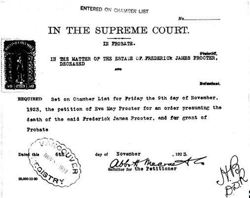 Frederick James Procter - application for order presuming death - November 9, 1923, https://familysearch.org/pal:/MM9.3.1/TH-1961-31815-15599-25?cc=2014768&wc=MM1J-TZY:n1949740680